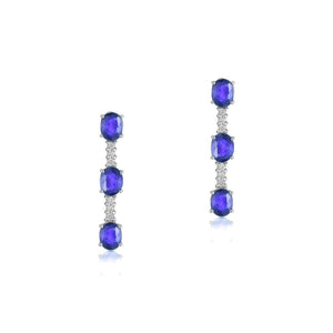 Sabel Collection 14K White Gold Oval Tanzanite and Diamond Drop Earrings