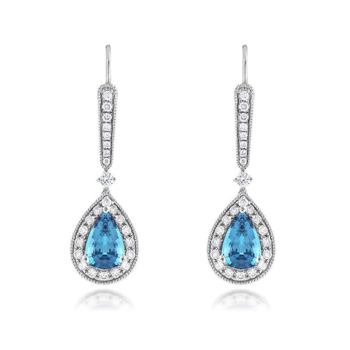 Sabel Collection 14K White Gold Pear Shape Aquamarine and Diamond Drop Earrings