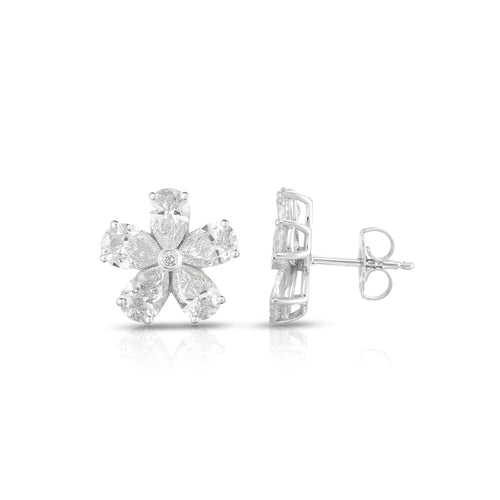 Sabel Collection 14K White Gold Pear Shape Flower Stud Earrings