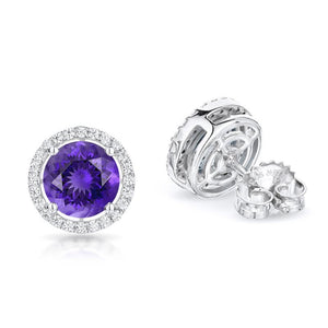 Sabel Collection 14K White Gold Round Amethyst and Diamond Earrings