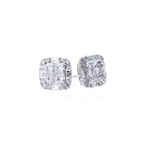 Sabel Collection 14K White Gold Round, Baguette, and Princess Cut Diamond Stud Earrings