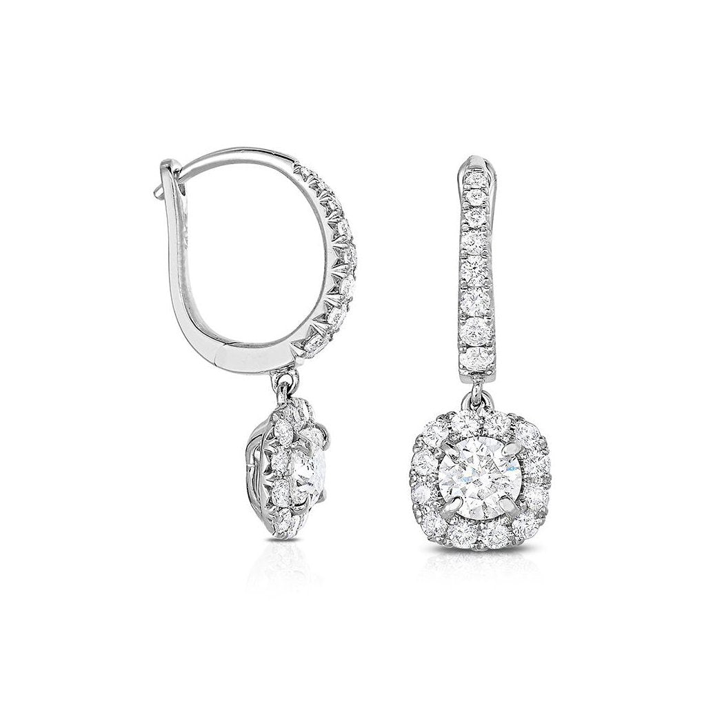 Sabel Collection 14K White Gold Round Diamond Dangle Earrings