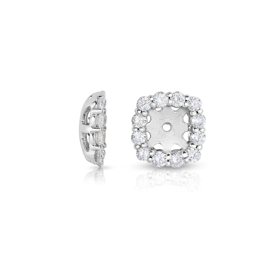 Sabel Collection 14K White Gold Round Diamond Earring Jackets