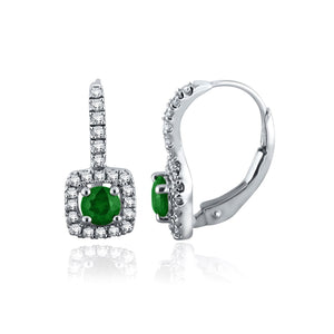Sabel Collection 14K White Gold Round Emerald and Diamond Halo Earrings