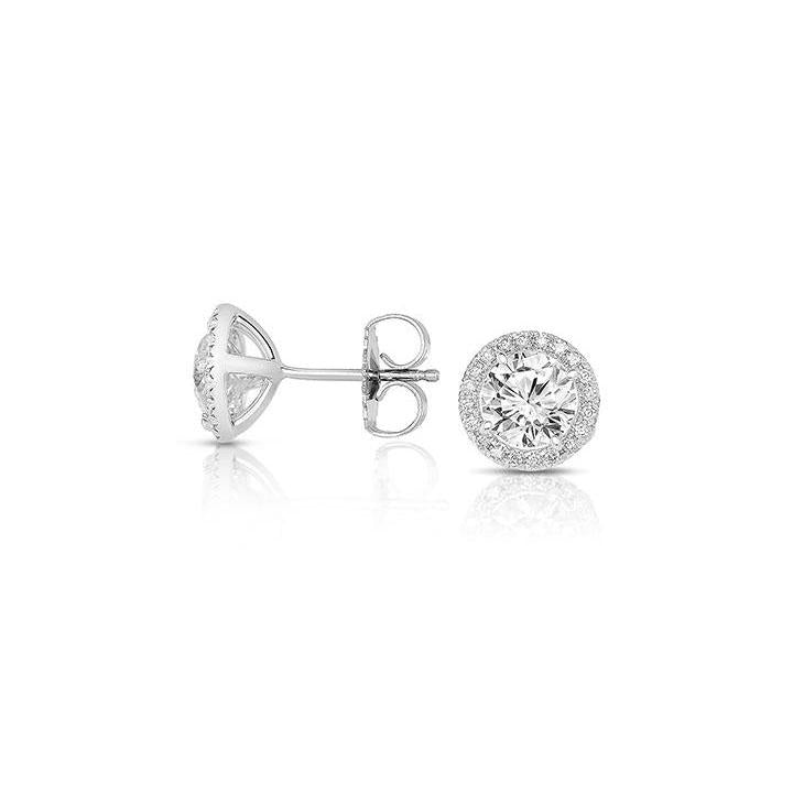 Sabel Collection 14K White Gold Round Halo Diamond Stud Earrings