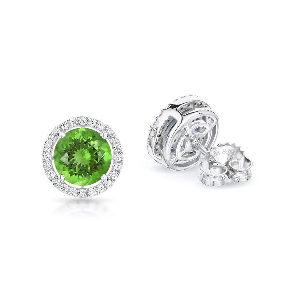 Sabel Collection 14K White Gold Round Peridot and Diamond Earrings