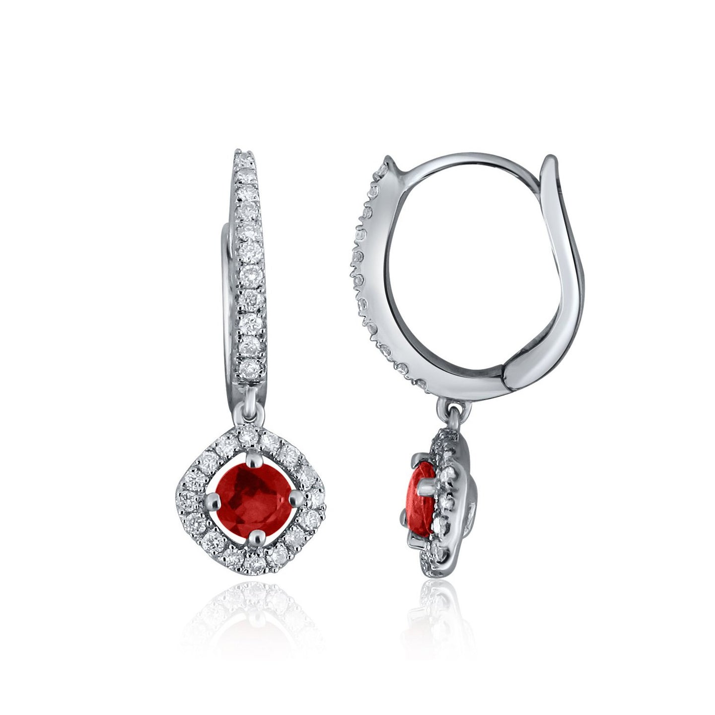 Sabel Collection 14K White Gold Round Ruby and Diamond Dangle Earrings