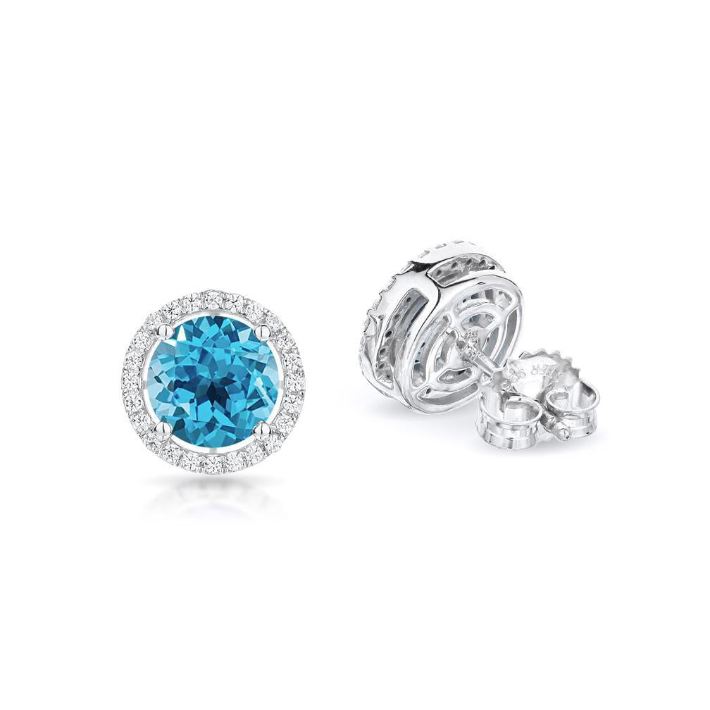 Sabel Collection 14K White Gold Round Swiss Blue Topaz and Diamond Earrings
