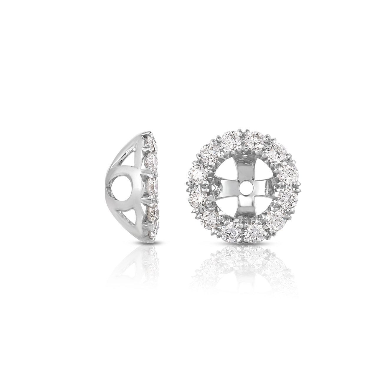 Sabel Collection 14K White Gold Round White Diamond Earring Jackets