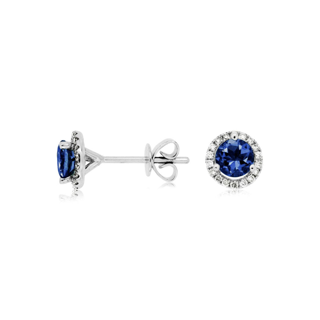 Sabel Collection 14K White Gold Sapphire and Diamond Halo Stud Earrings