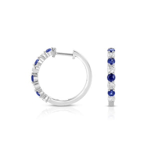 Sabel Collection 14K White Gold Sapphire and Diamond Hoop Earrings