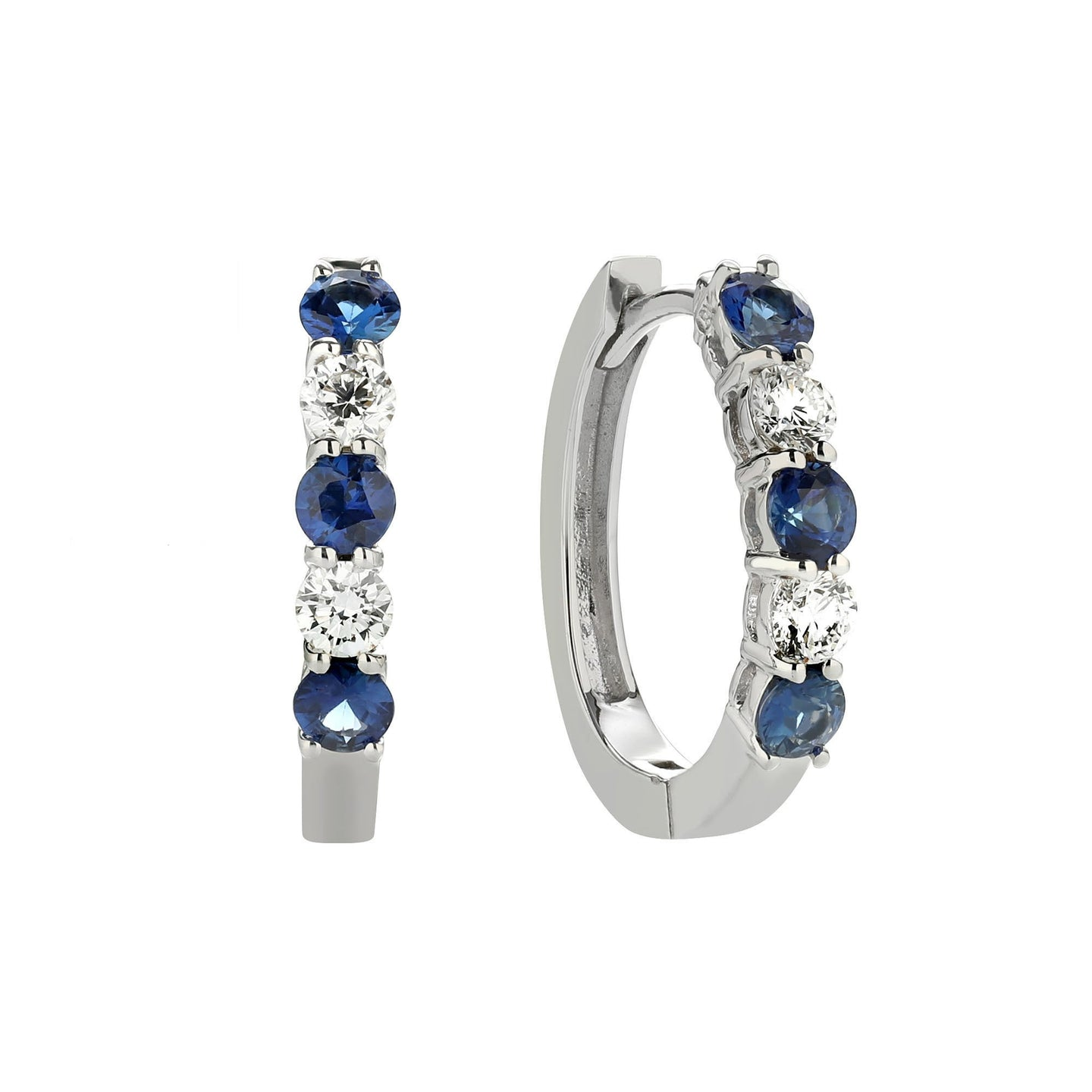 Sabel Collection 14K White Gold Sapphire and Diamond Huggie Hoop Earrings