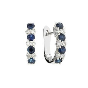 Sabel Collection 14K White Gold Sapphire and Diamond Mini Hoop Earrings