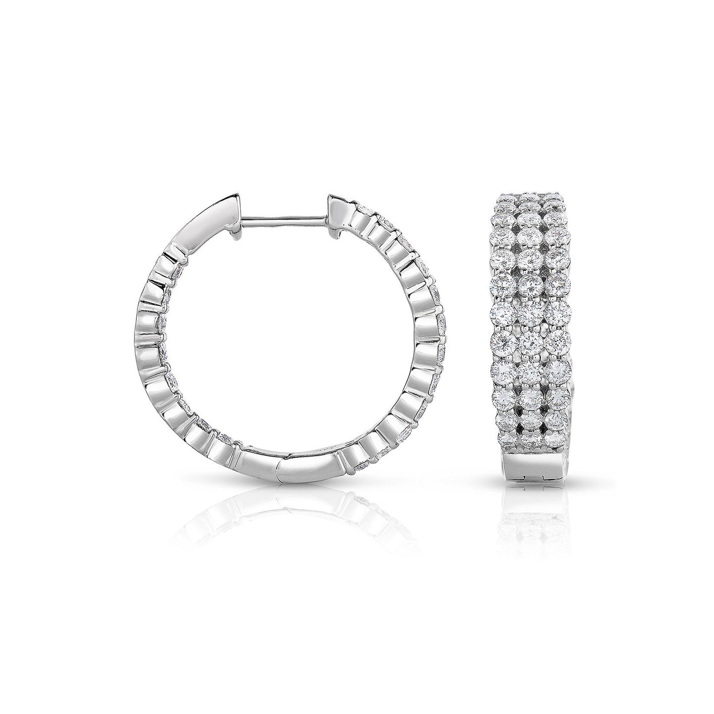 Sabel Collection 14K White Gold Three Row Diamond Inside Out Hoop Earrings