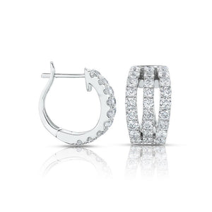 Sabel Collection 14K White Gold Three Row Huggie Hoop Earrings