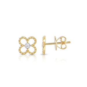 Sabel Collection 14K Yellow and White Gold Flower Earrings