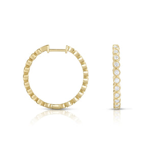 Sabel Collection 14K Yellow Gold Bezel Set Diamond Hoop Earrings