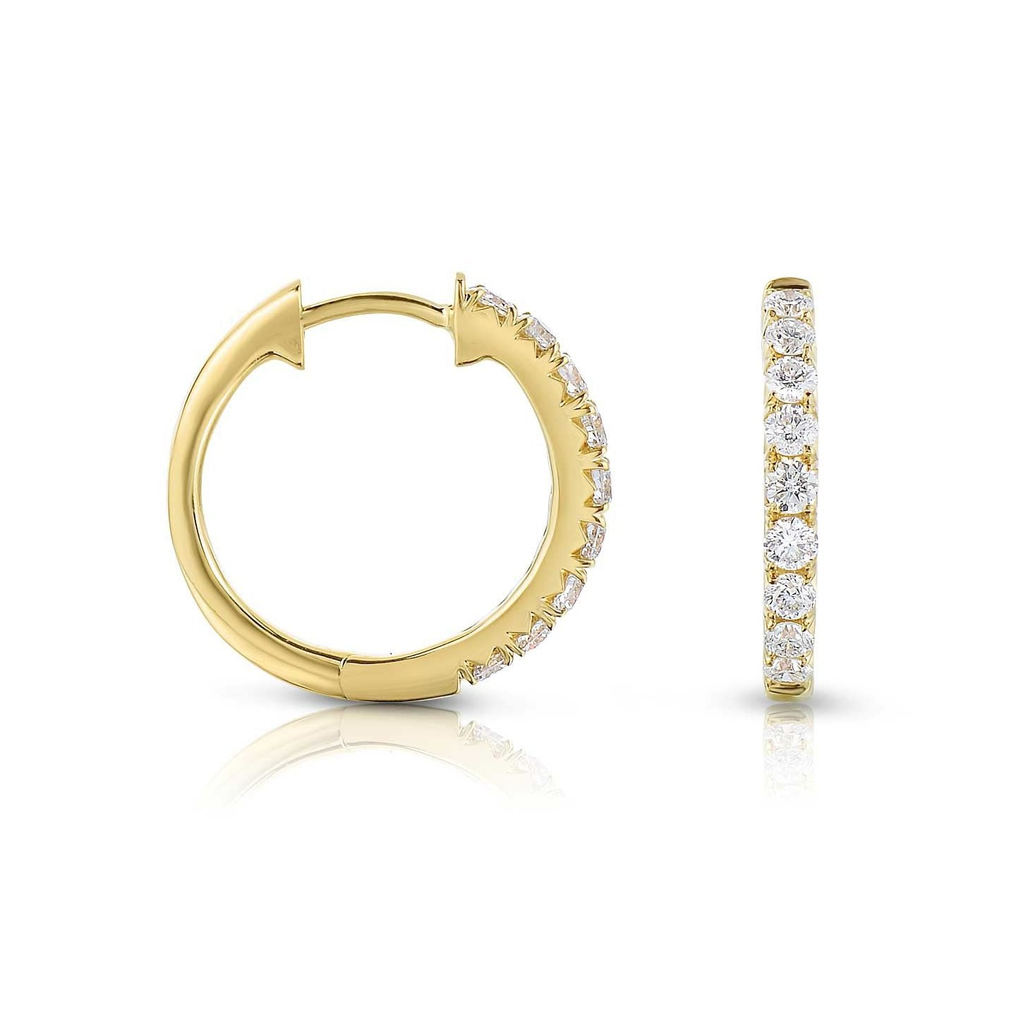 Sabel Collection 14K Yellow Gold Diamond Hoop Earrings