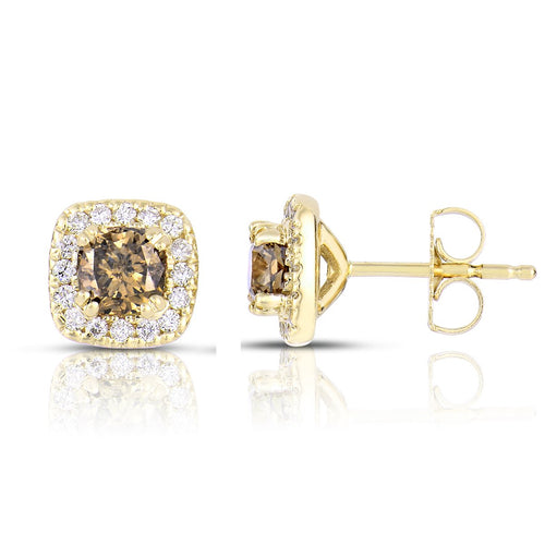 Sabel Collection 14K Yellow Gold Mocha Diamond and White Diamond Square Stud Earrings