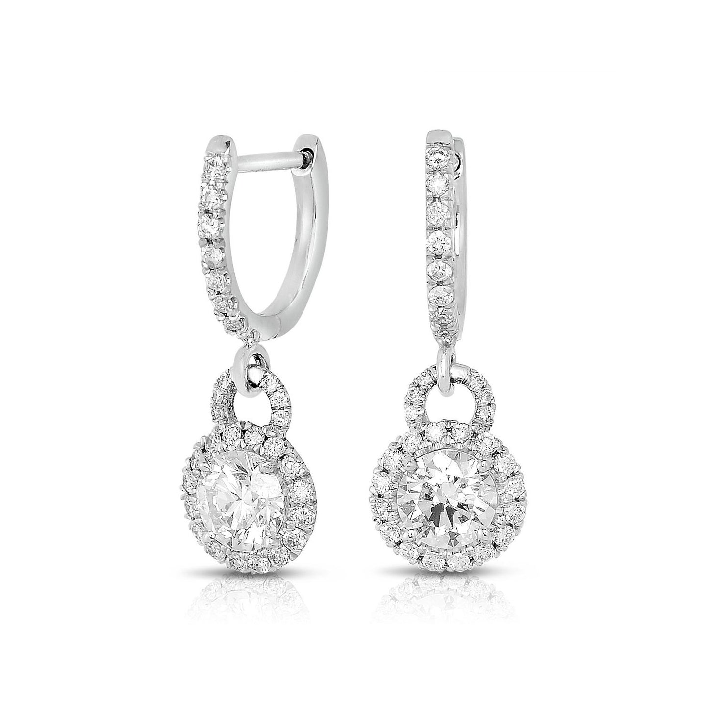 Sabel Collection 18K White Gold Diamond Round Dangle Earrings