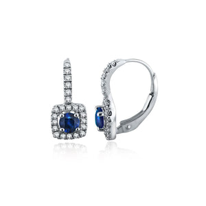Sabel Collection Square Drop Earrings with Round Sapphires