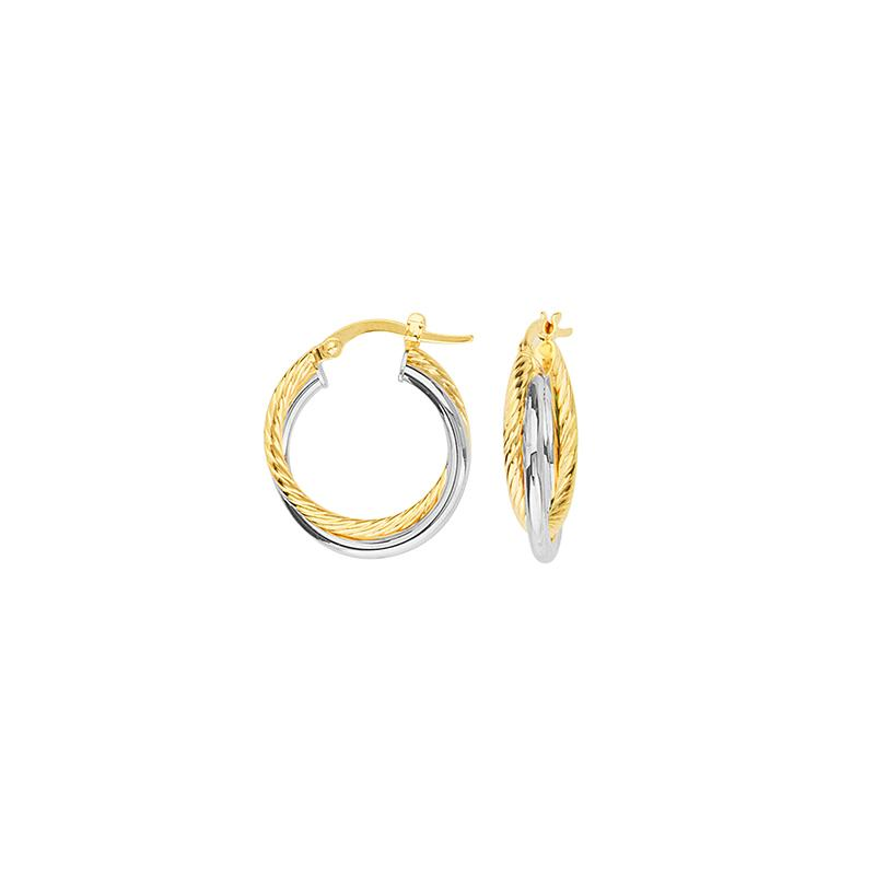 Sabel Everyday Collection 14K Yellow and White Gold Interwoven Twist Hoop Earrings