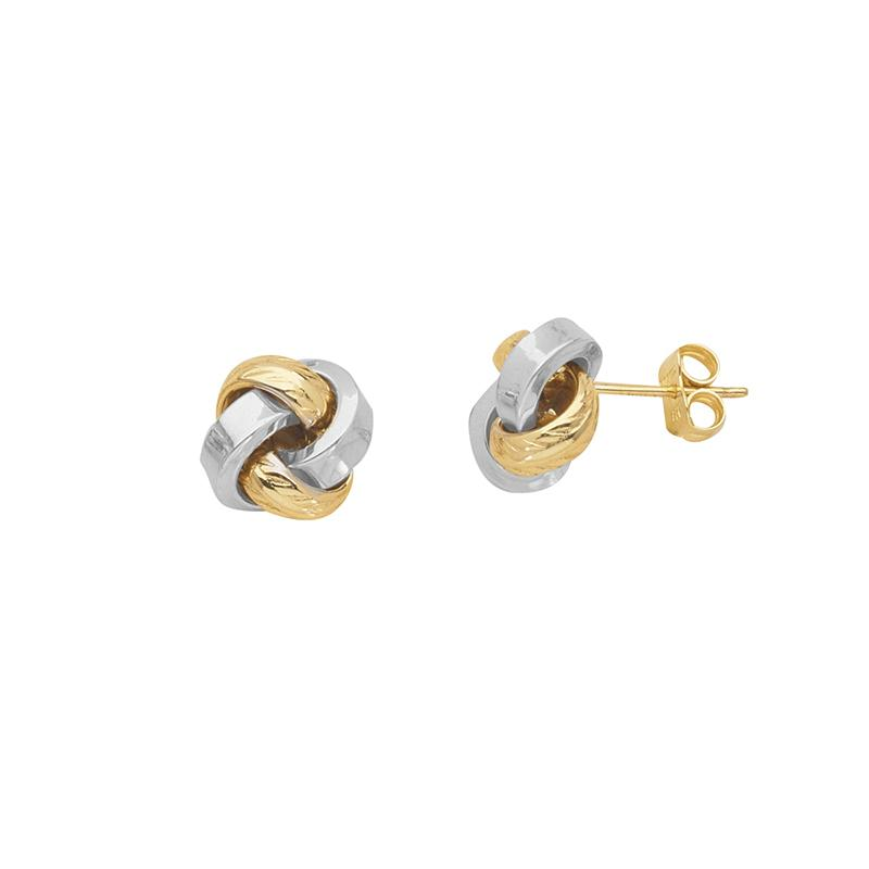 Sabel Everyday Collection 14K Yellow and White Gold Love Knot Stud Earrings