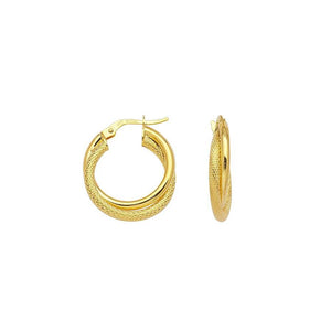 Sabel Everyday Collection 14K Yellow Gold Polished and Snakeskin Crossover Hoop Earrings