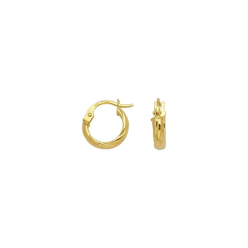 Sabel Everyday Collection 14K Yellow Gold Small Fluted Twisted Hoop Earrings