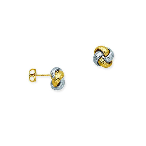 Sabel Everyday Collection Two-Tone Diamond Cut Love Knot Stud Earrings