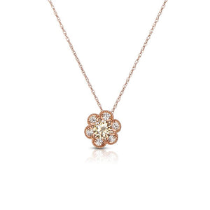 Sabel Collection 14K Rose Gold Mocha Diamond Flower Pendant Necklace