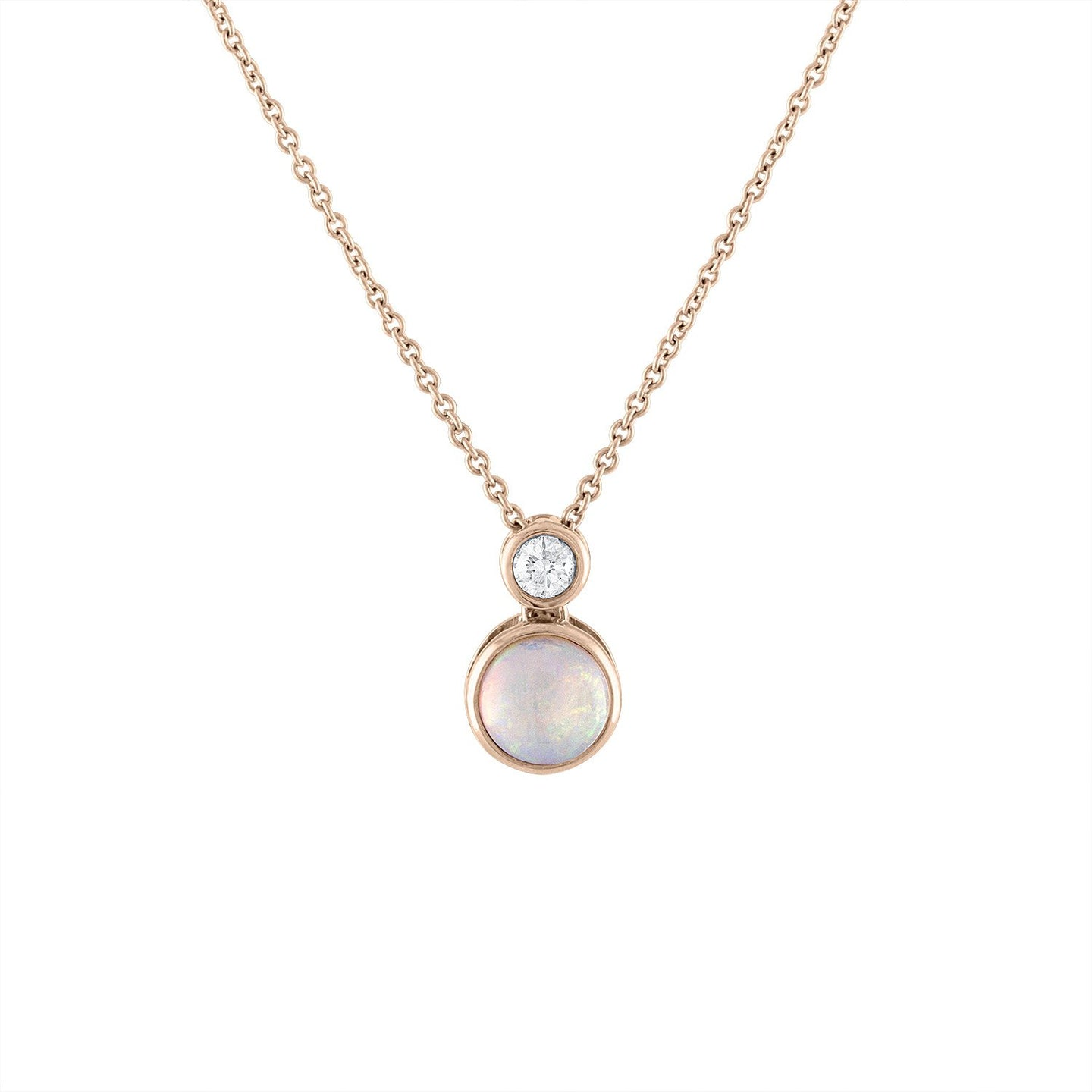 Sabel Collection 18K Rose Gold Opal and Diamond Bezel Set Drop Pendant