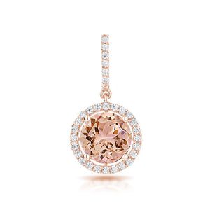 Sabel Collection 14K Rose Gold Round Morganite and Diamond Pendant