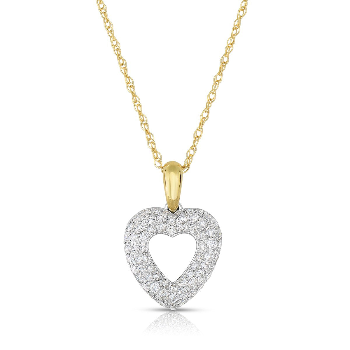 b06d7a9bf9b57 Sabel Collection 14K White and Yellow Gold Diamond Heart Pendant