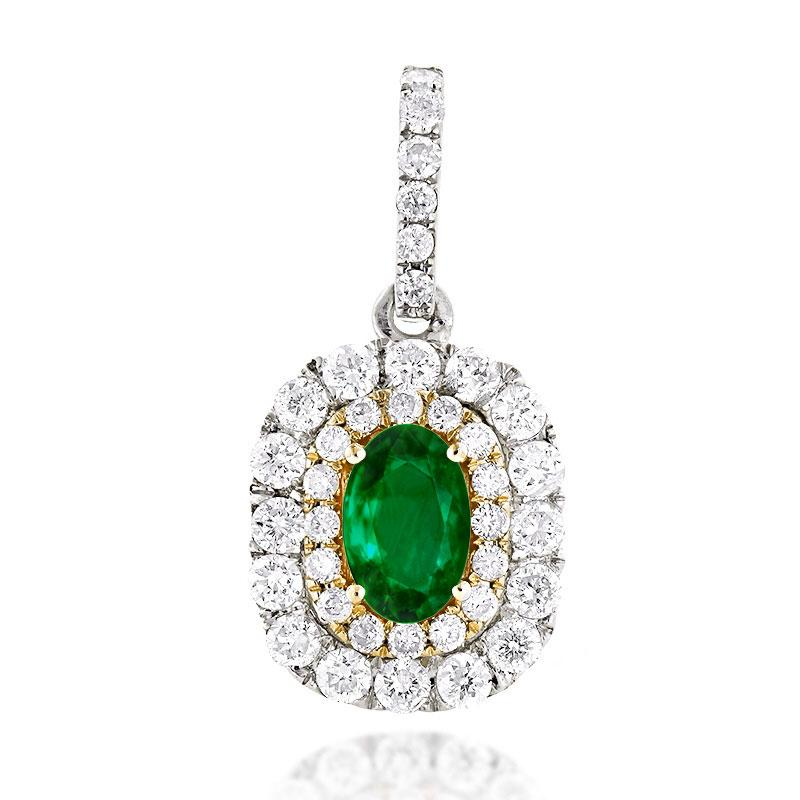 Sabel Collection 14K White and Yellow Gold Oval Emerald and Diamond Pendant