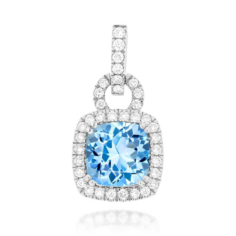 Sabel Collection 14K White Gold Cushion Aquamarine and Diamond Pendant