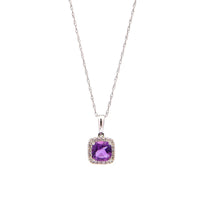 Sabel Collection 14K White Gold Cushion Cut Amethyst Pendant