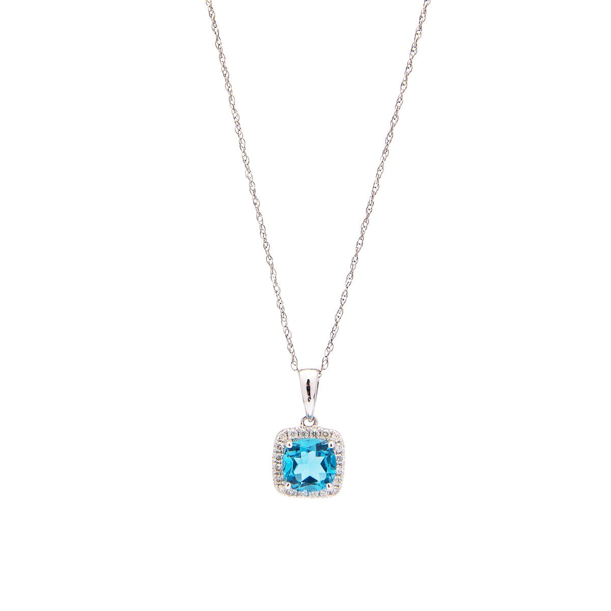 Sabel Collection 14K White Gold Cushion Cut Blue Topaz and Diamond Pendant