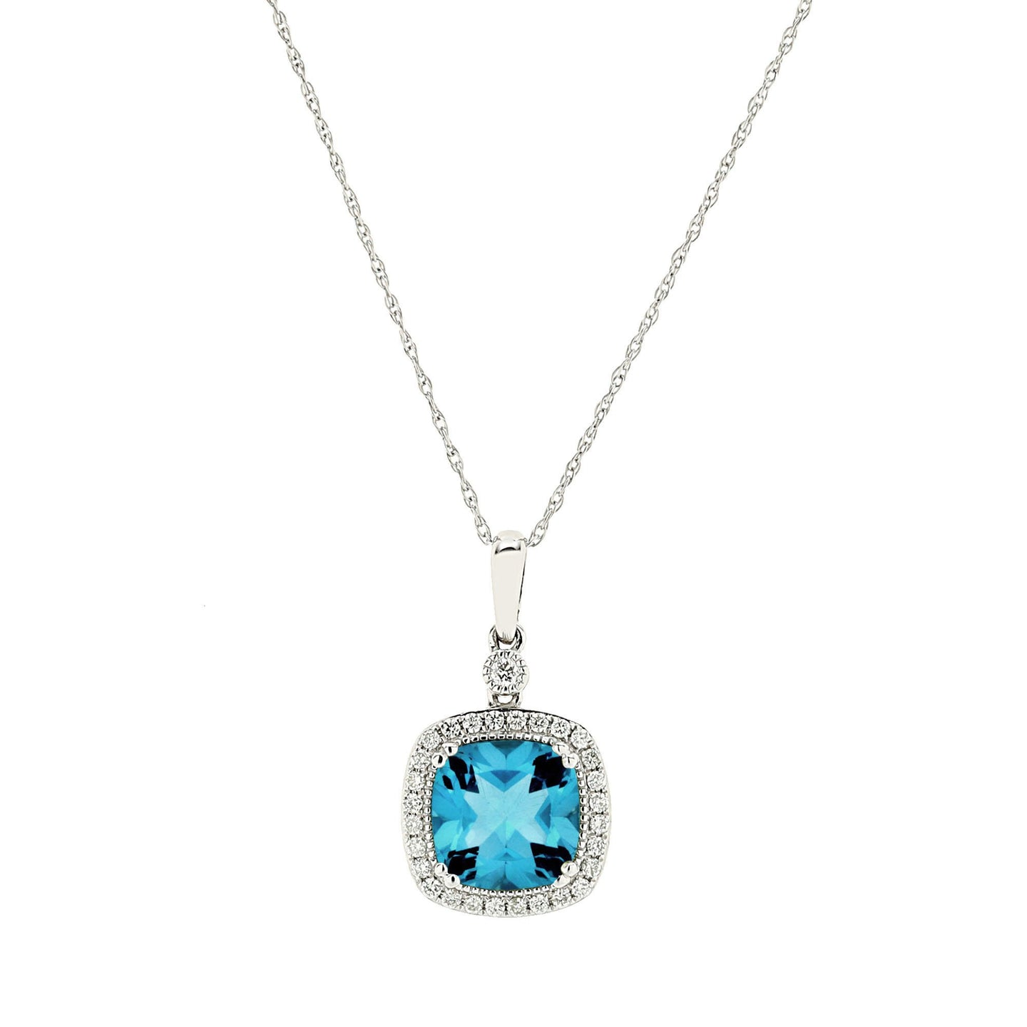 Sabel Collection 14K White Gold Cushion Cut Blue Topaz Pendant