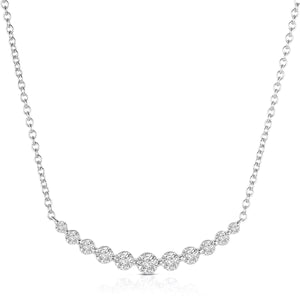 Sabel Collection 14K White Gold Diamond Curved Bar Pendant
