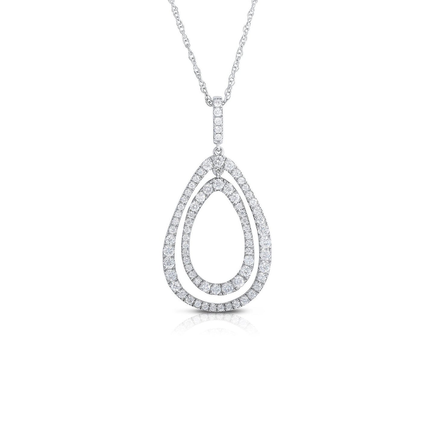 Sabel Collection 14K White Gold Diamond Double Oval Drop Pendant