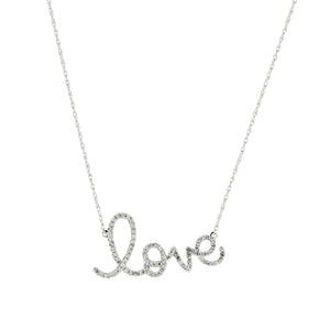 "Sabel Collection 14K White Gold Diamond ""Love"" Necklace"