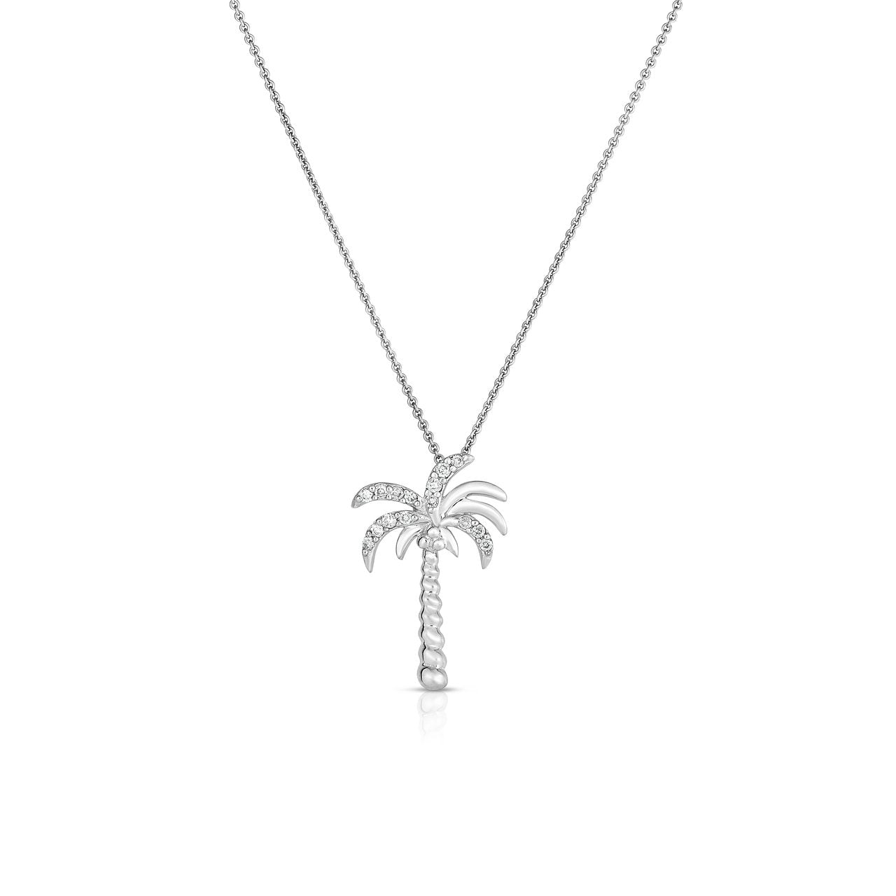 Sabel Collection 14K White Gold Diamond Palm Tree Necklace