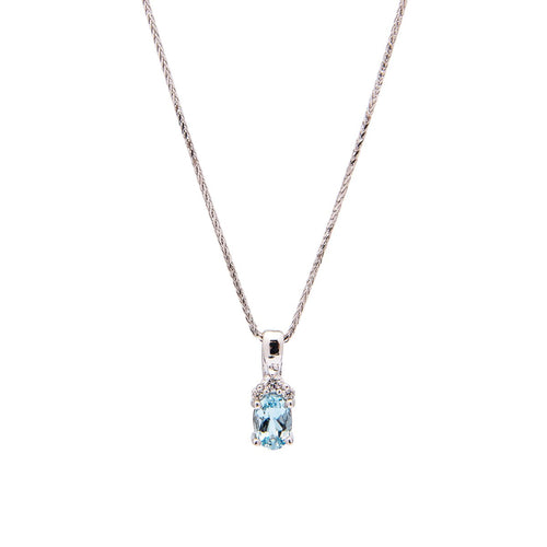 Sabel Collection 14K White Gold Oval Aquamarine and Diamond Cluster Pendant