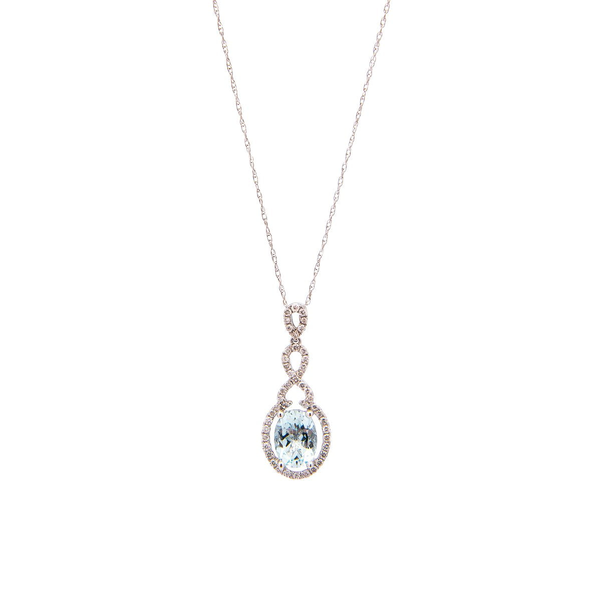 Sabel Collection 14K White Gold Oval Aquamarine and Diamond Dangle Pendant