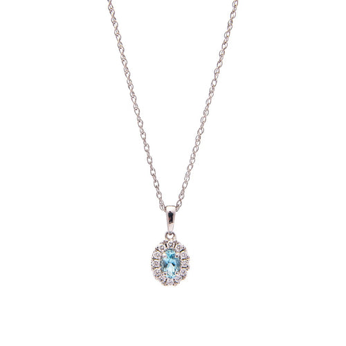 Sabel Collection 14K White Gold Oval Aquamarine and Diamond Halo Pendant