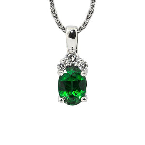Sabel Collection 14K White Gold Oval Emerald and Diamond Cluster Pendant