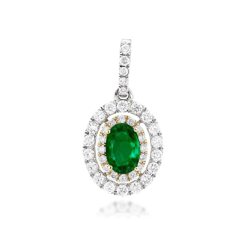 Sabel Collection 14K White Gold Oval Emerald and Diamond Pendant