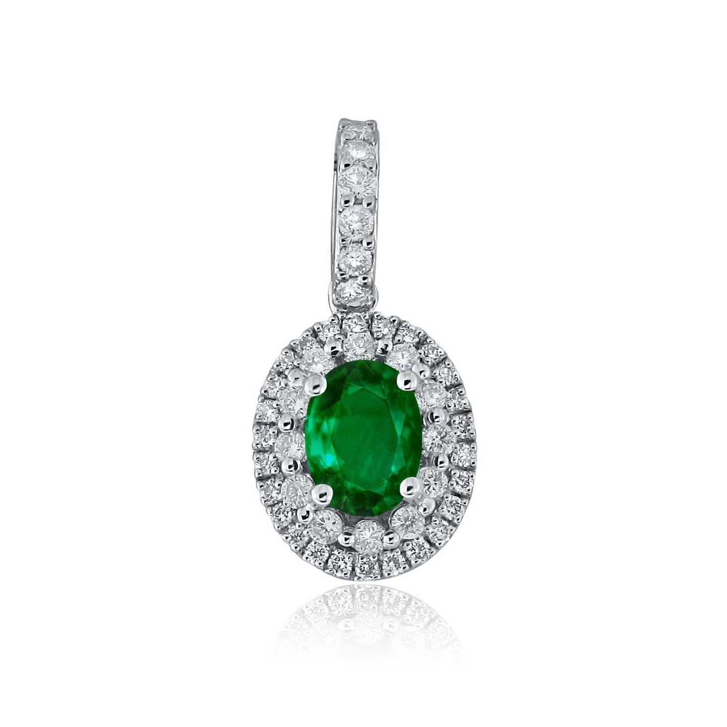 Sabel Collection 14K White Gold Oval Emerald and Round Diamond Pendant