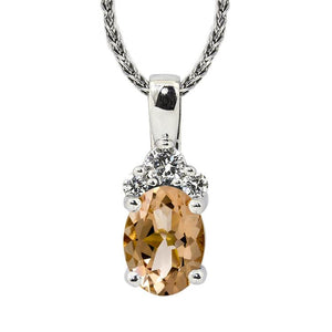 Sabel Collection 14K White Gold Oval Morganite and Diamond Cluster Pendant